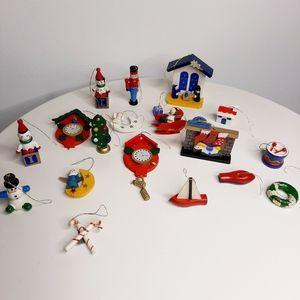 Set of 19 Vintage Wooden Ornaments
